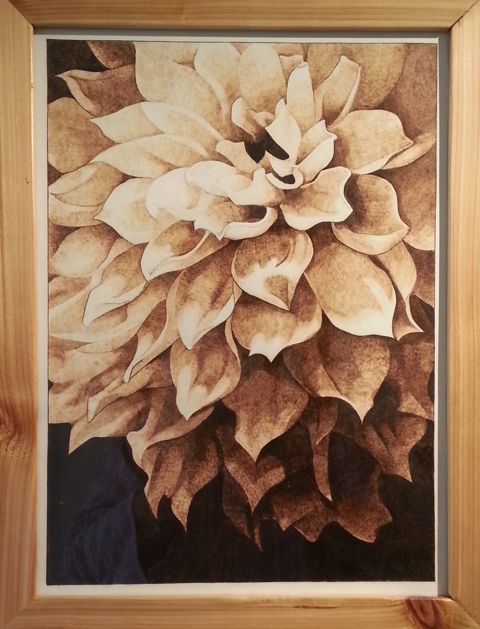 Pyrography on paper The Flower