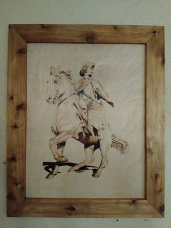 trail boss with frame - Wood Burning Picture Frame