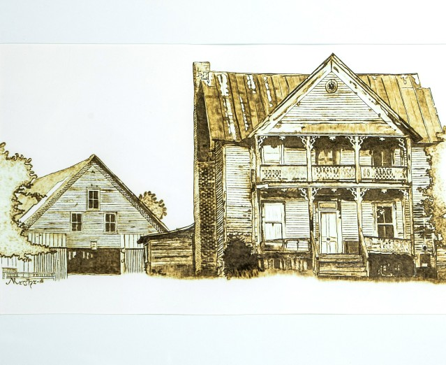Old White House 02-2016 Pyrography on Paper 17 x 20 inches