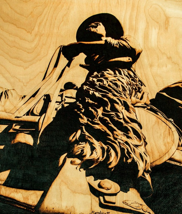 Tall in the Saddle 03-2017 Pyrography on Wood 2 x 3 feet