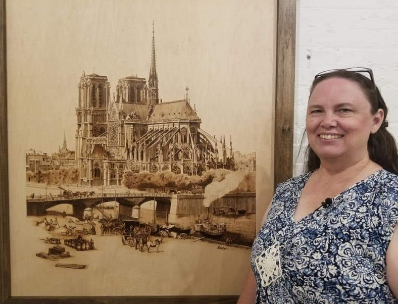 Wood Burning by Marsha, Notre Dame de Paris cathedral, burned on Ash wood
